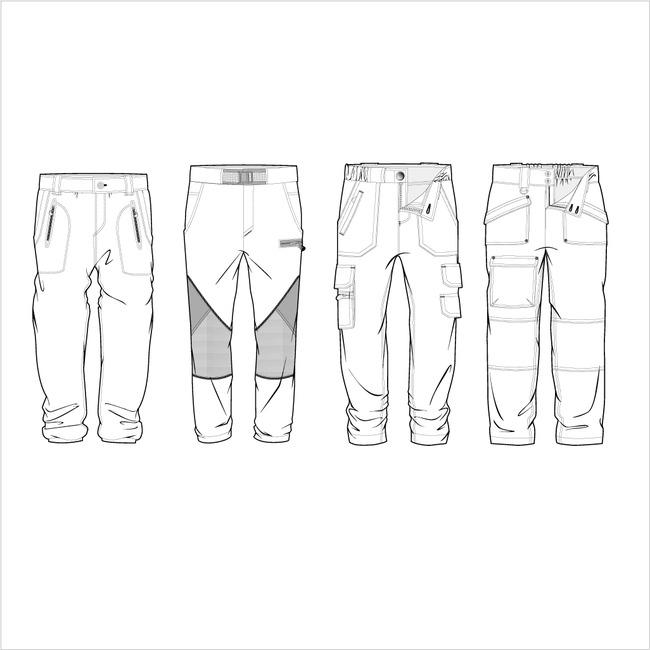 下载服装手绘稿设计矢量图 裤子手绘设计 短裤手绘设计 男裤款式设计