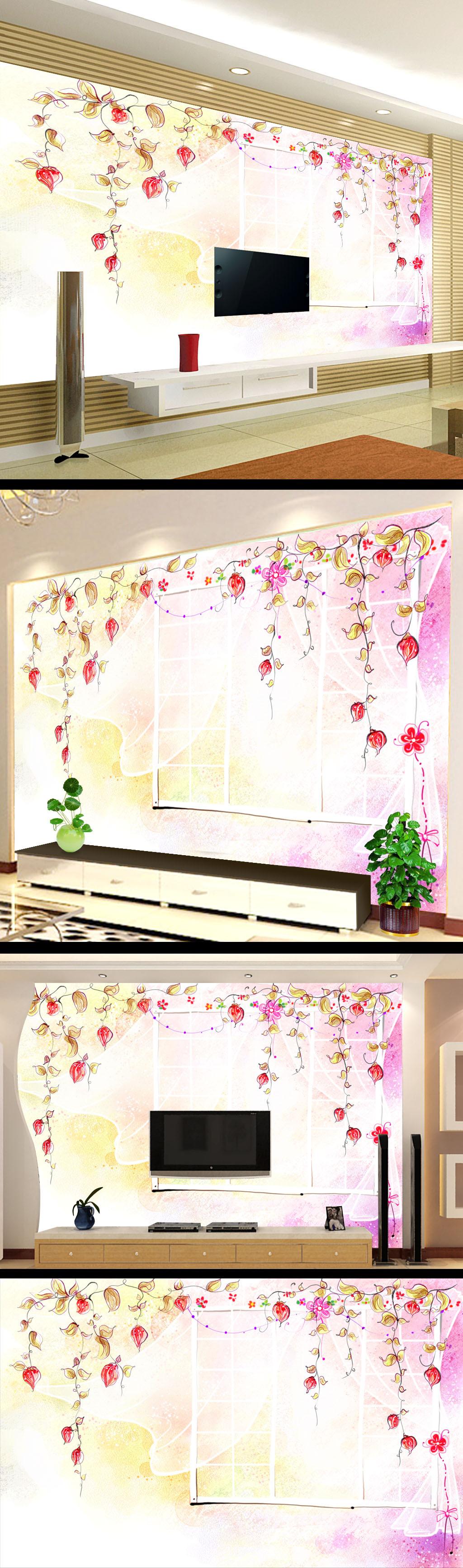 小清新儿童卡通画电视背景墙设计