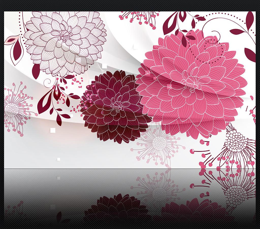 手绘线描花朵3d客厅电视背景墙装饰画