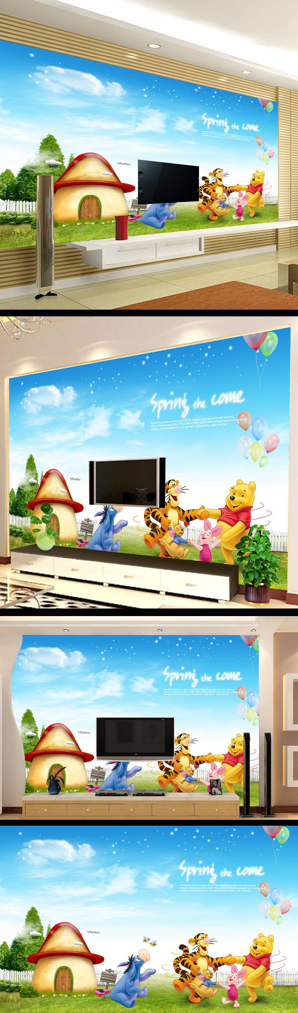 动物世界儿童卡通画电视背景墙设计