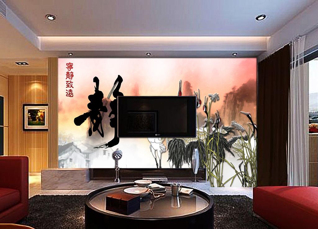 中式古典风格山水水墨画仙鹤背景墙