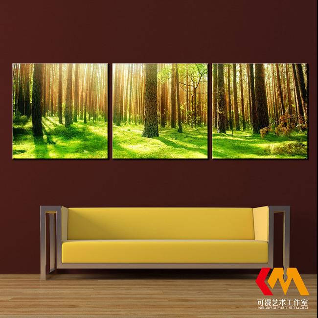 高清阳光森林树林无框画