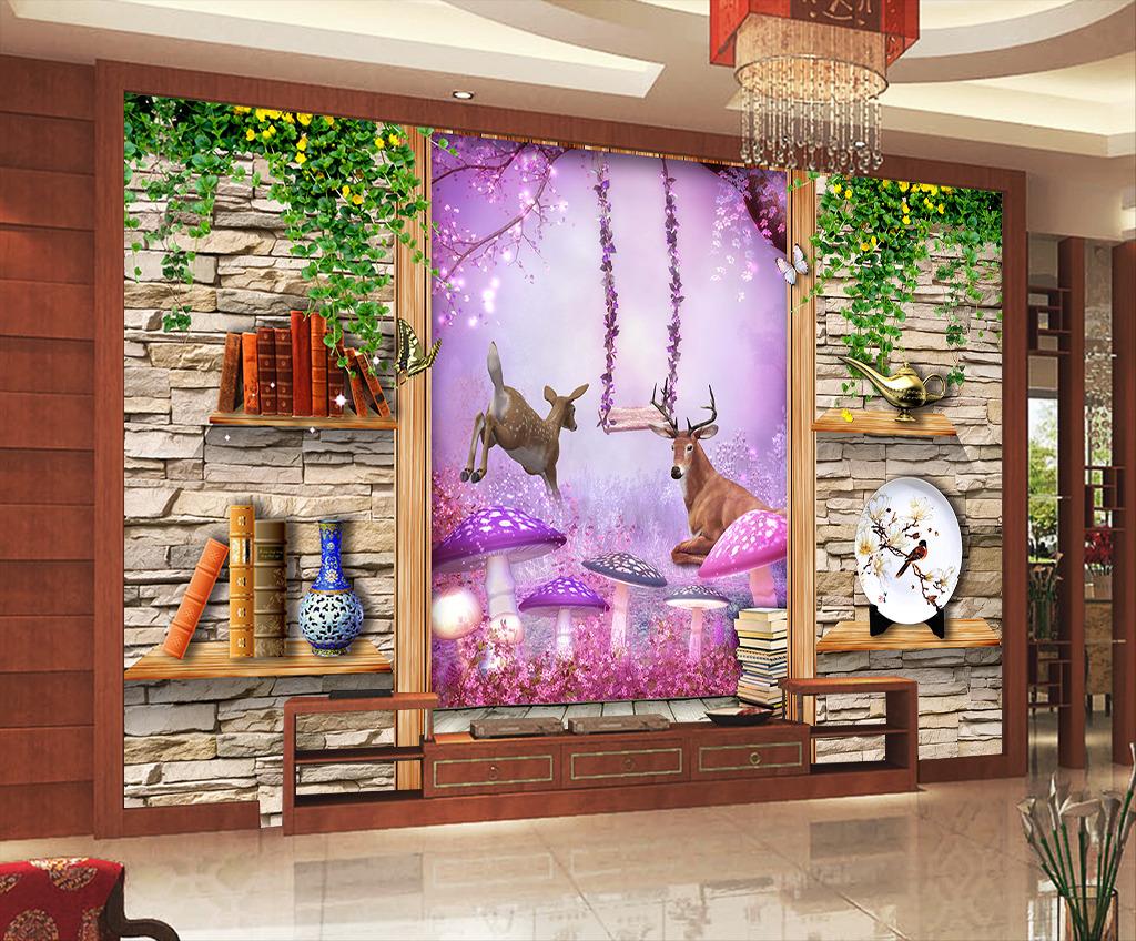 3d立体空间梦幻欧式背景墙壁画图片