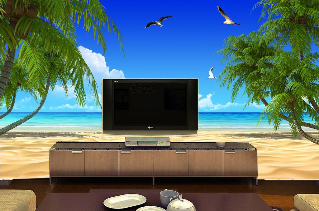 电视背景墙夏日海景