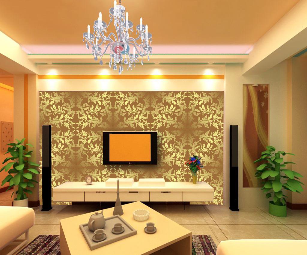 欧式简约纹理花纹壁画壁纸客厅电视背景墙