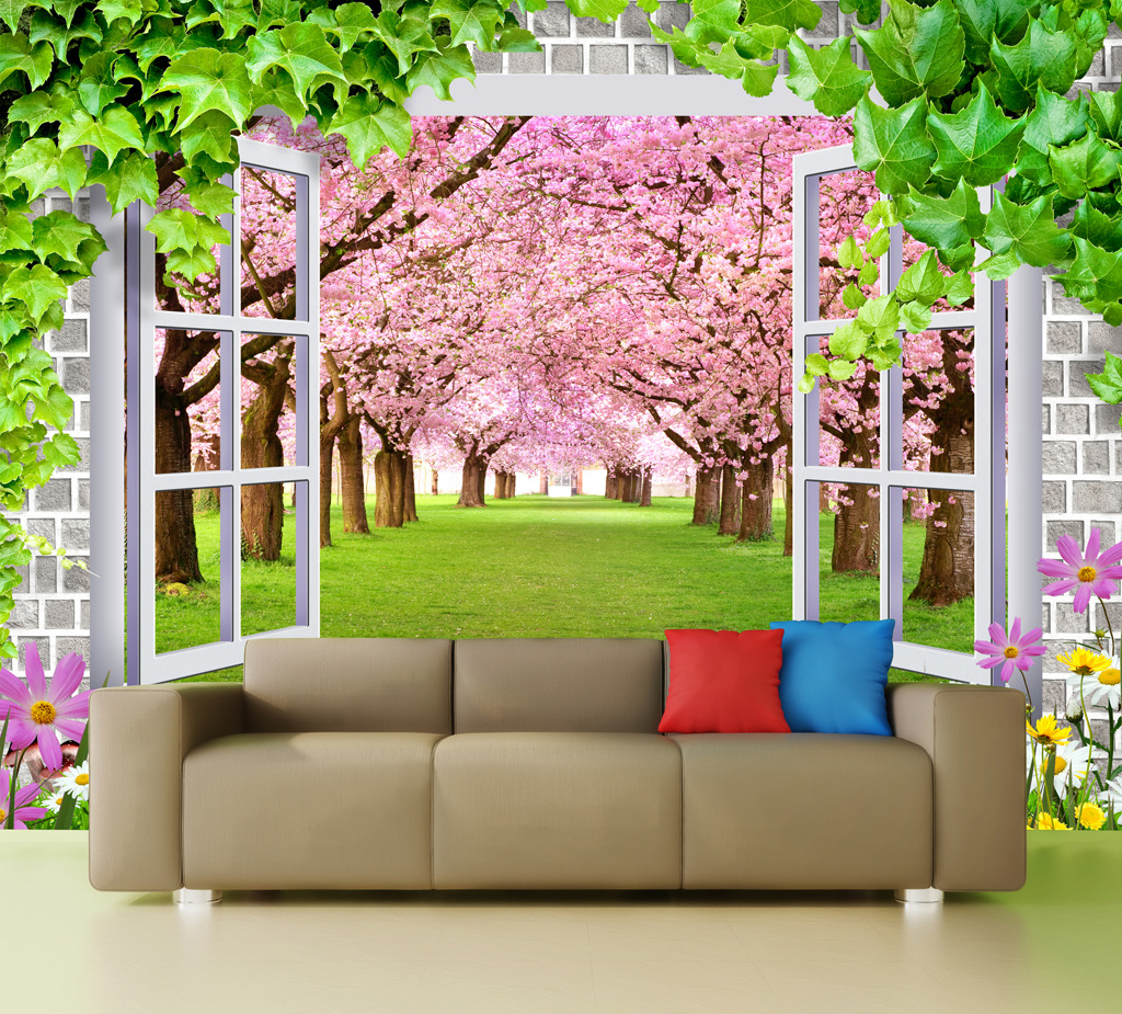 3d墙窗户假窗窗外绿滕樱花树