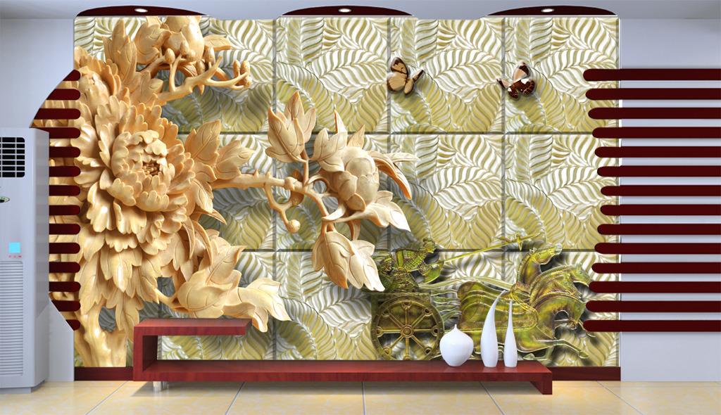 3d立体木雕牡丹花浮雕金属古战车背景墙
