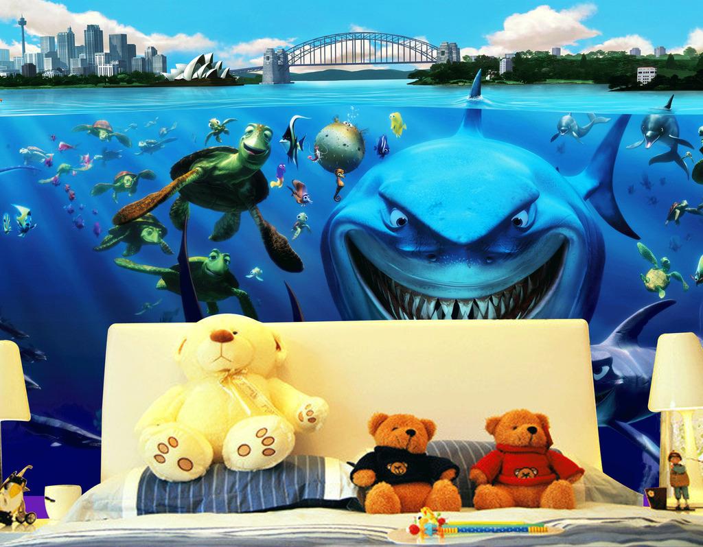 海底世界海豚乌龟儿童背景墙psd素材
