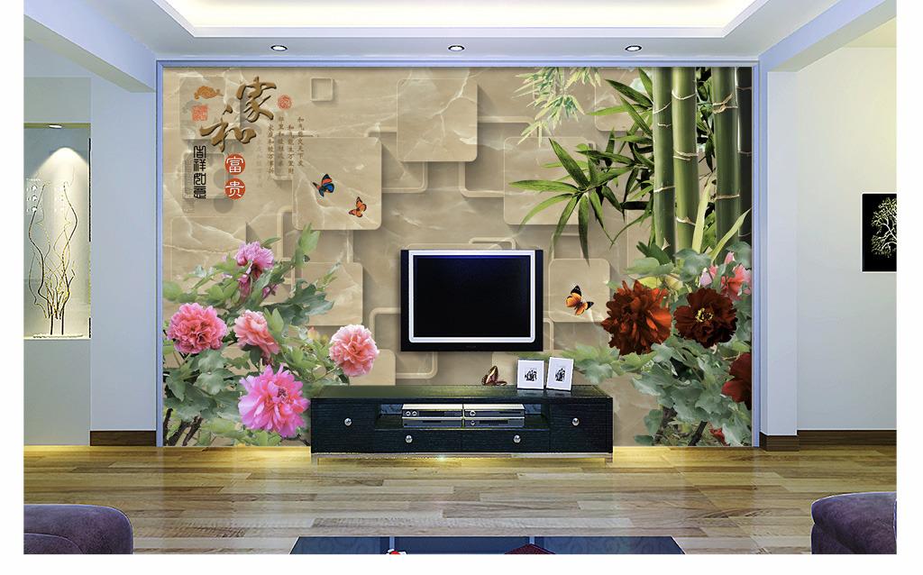 大型3d电视背景墙壁画图片