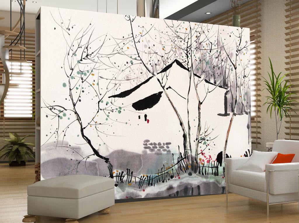 背景墙|装饰画 电视背景墙 中式电视背景墙 > 水墨草画房屋下雪牛树图片
