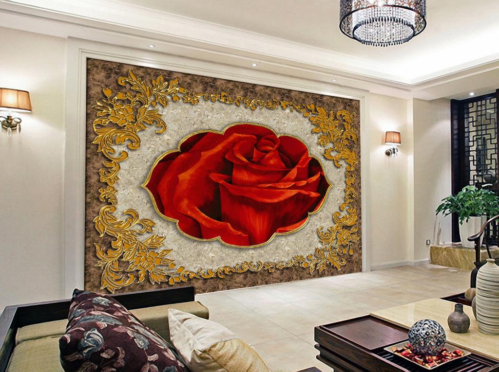 欧式风格大理石玫瑰背景墙图片