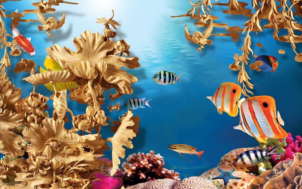 木雕浮雕立体荷花海洋世界电视背景墙