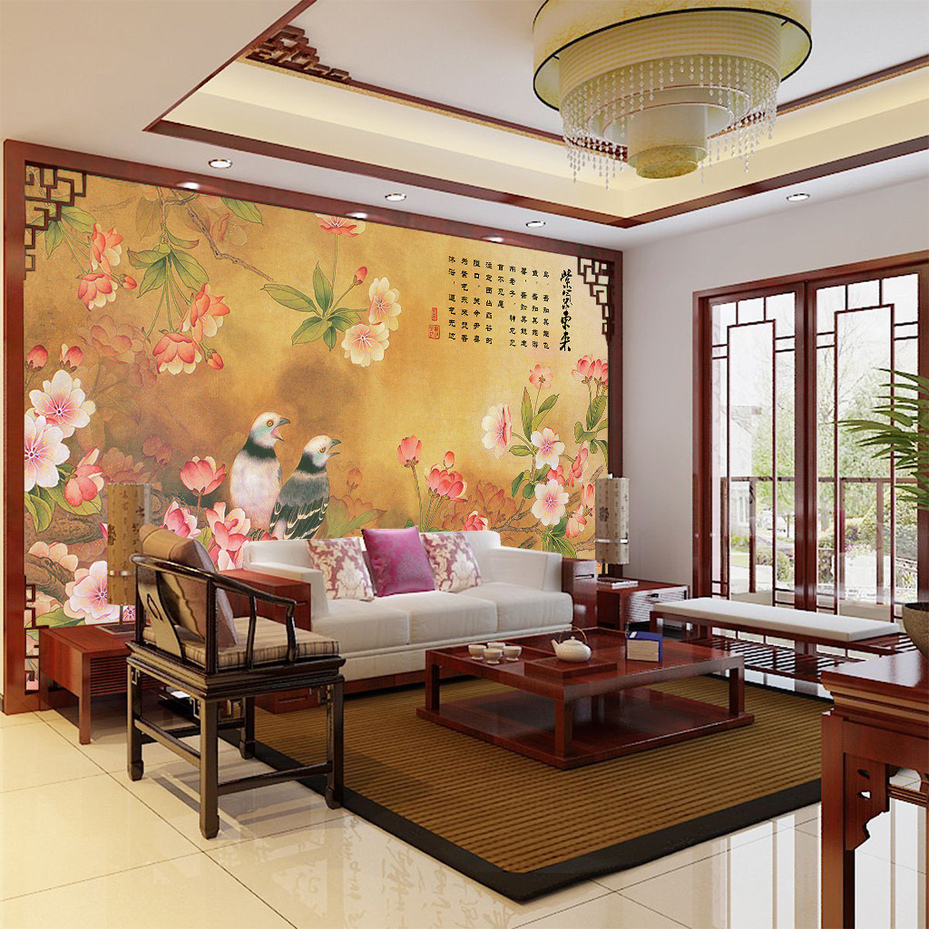 墙纸图案 墙绘图案 墙壁装饰 室内装修 工笔 中国风 中式风格 桃花 鸟