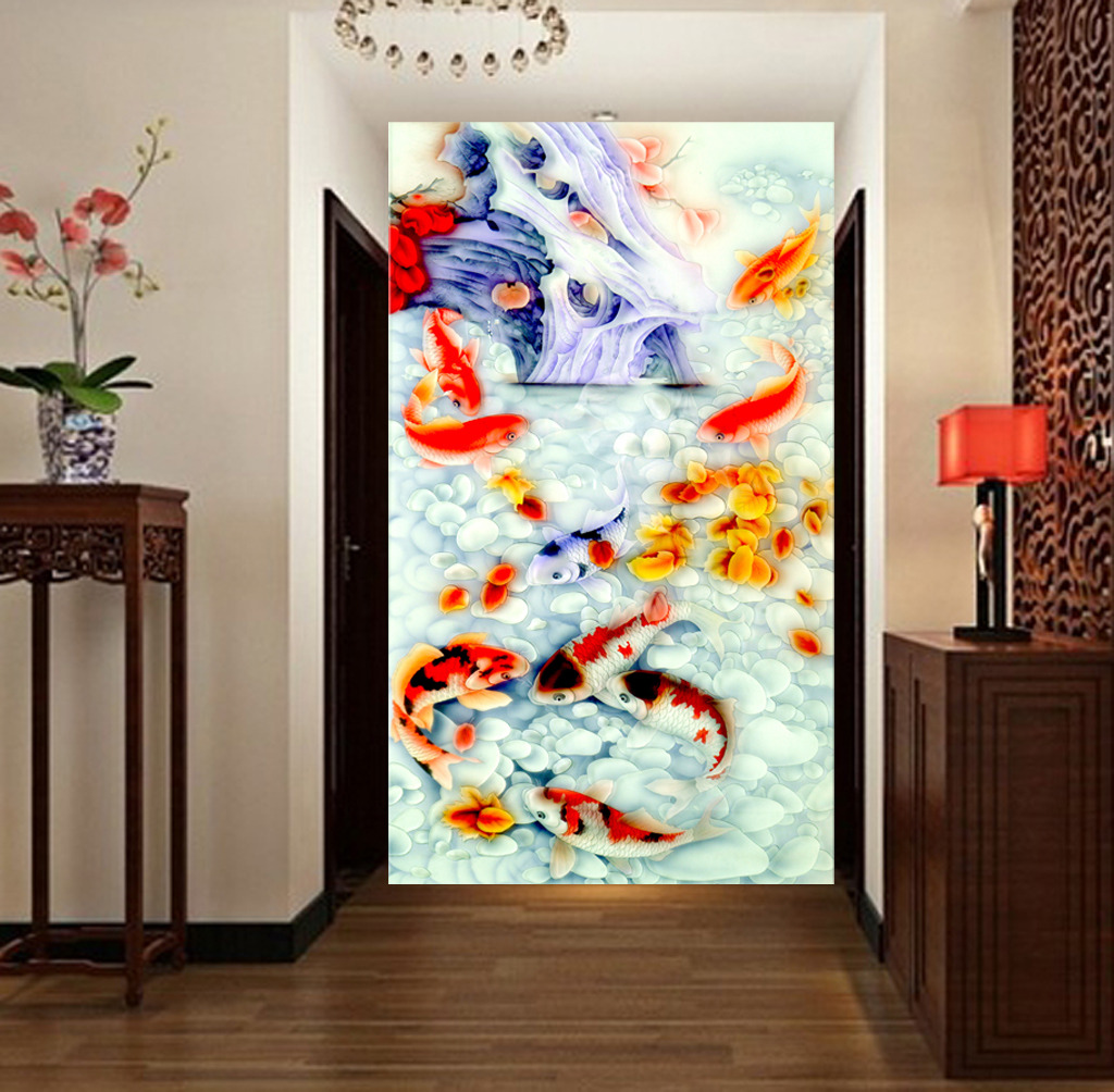 玄关 门厅 壁画 隔断 瓷砖背景墙 沙发背景墙 电视墙 形象墙 中式