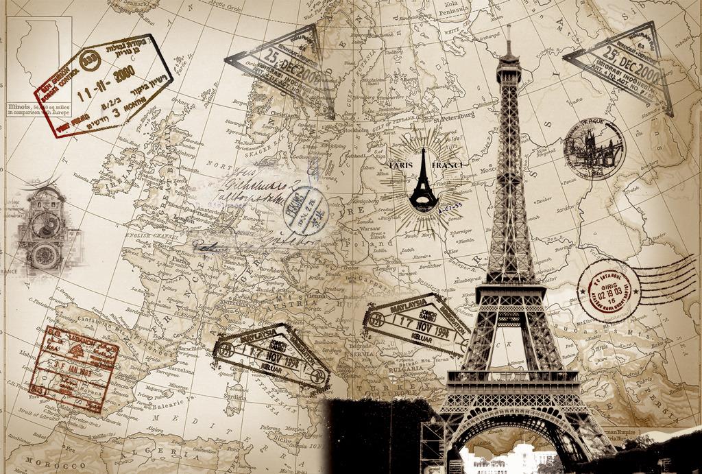 复古埃菲尔铁塔地图装饰画