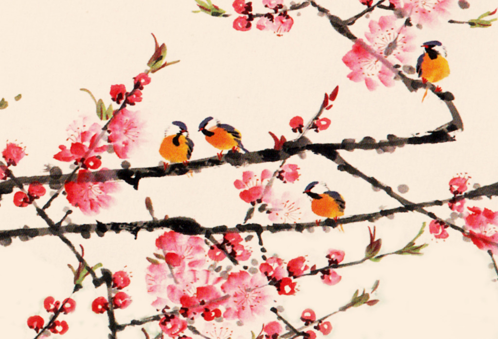 电视背景墙 沙发背景墙 玄关背景墙 桃花 小船 江南 远山 小鸟 桃花树