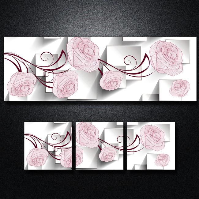3d立体方块手绘玫瑰花无框画