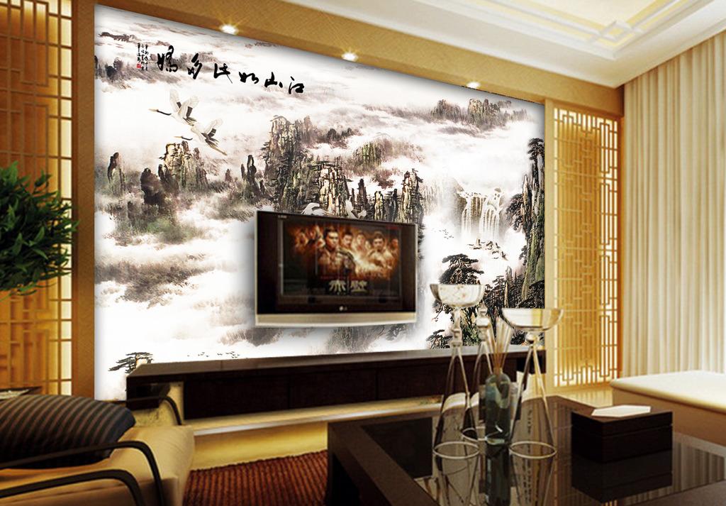 装修背景墙效果图 电视背景墙 沙发背景墙 玄关背景墙 仙鹤 松树 云海