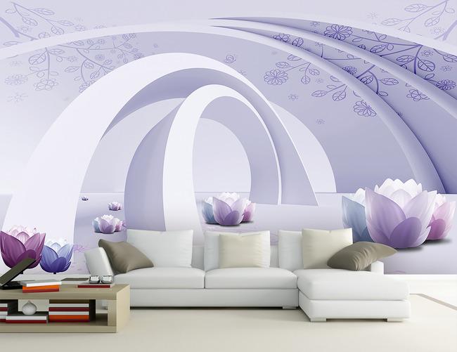 唯美3d立体空间客厅电视背景墙装饰画
