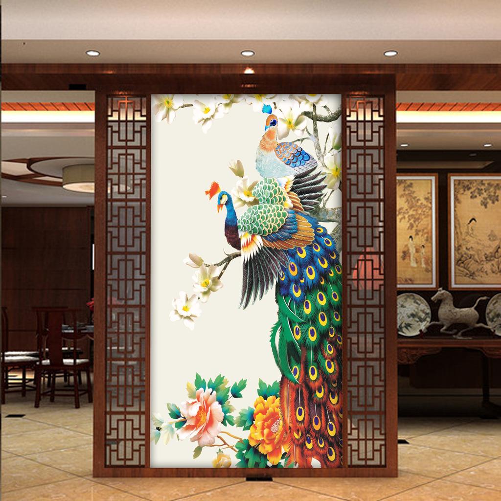 中式玄关背景墙--孔雀图片