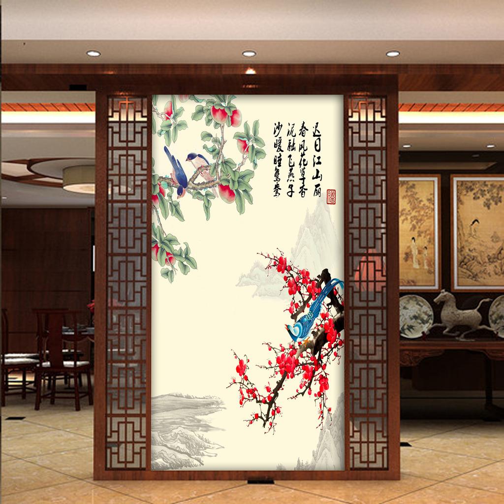 中式工笔花鸟玄关背景墙图片