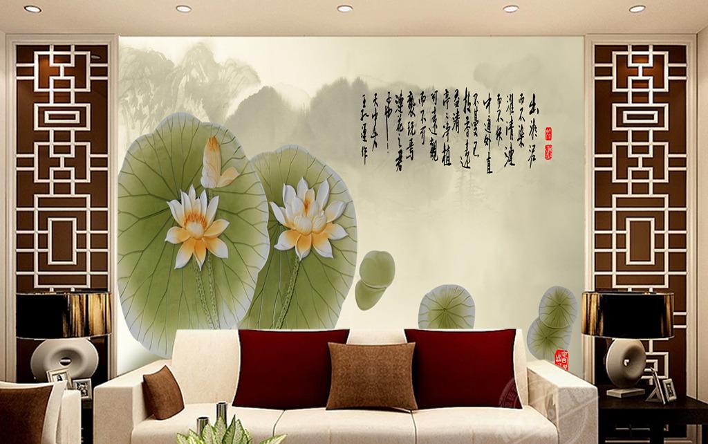 电视背景墙定制壁纸清荷图片