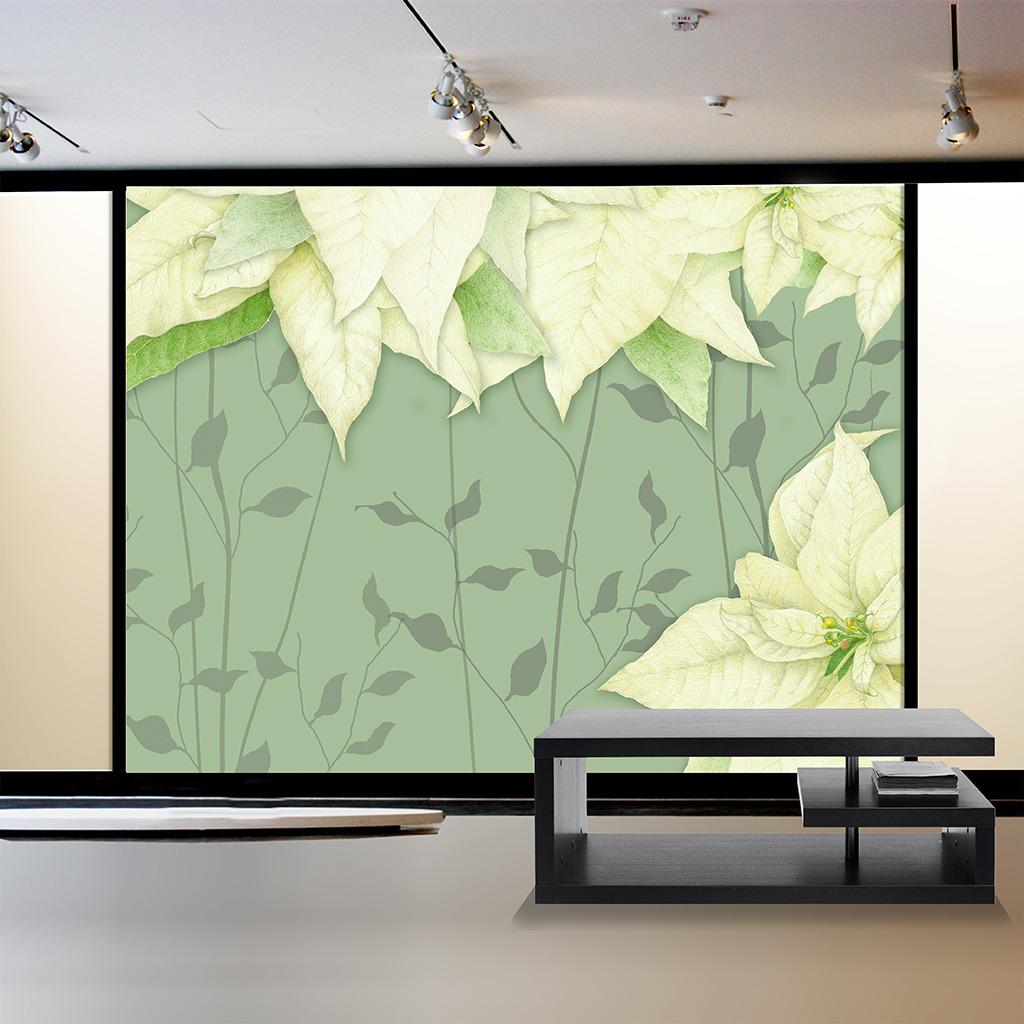 绿色叶子客厅电视背景墙图片下载 手绘电视背景墙图片下载 绿色 树叶