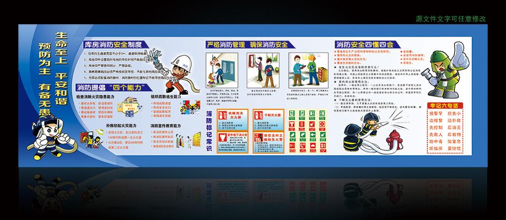 消防安全 消防知识 消防漫画人物 消防安全宣传图片 消防栓 安全展板