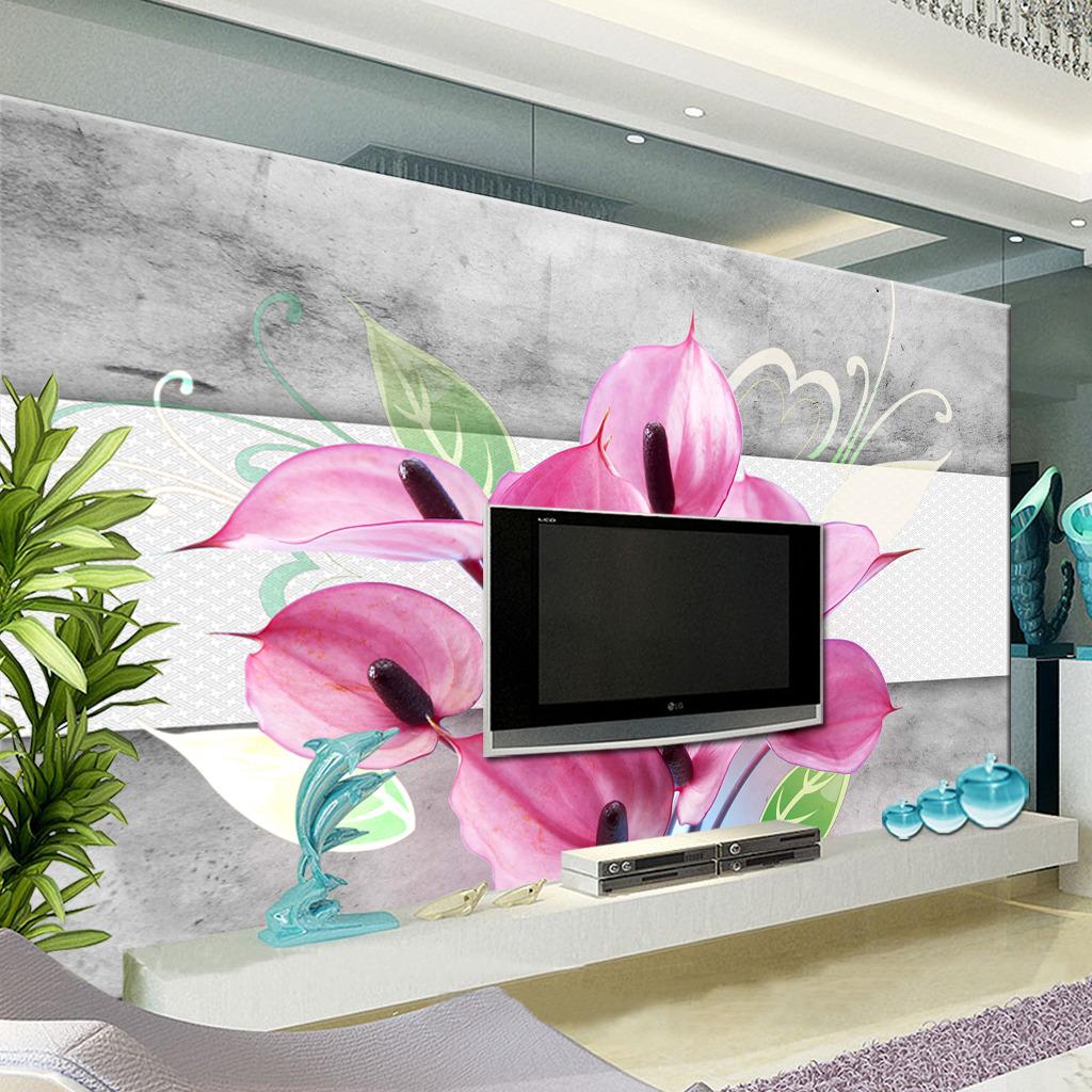 浪漫大气百合电视背景墙图片下载  现代 简约 欧式背景墙 室内背景墙