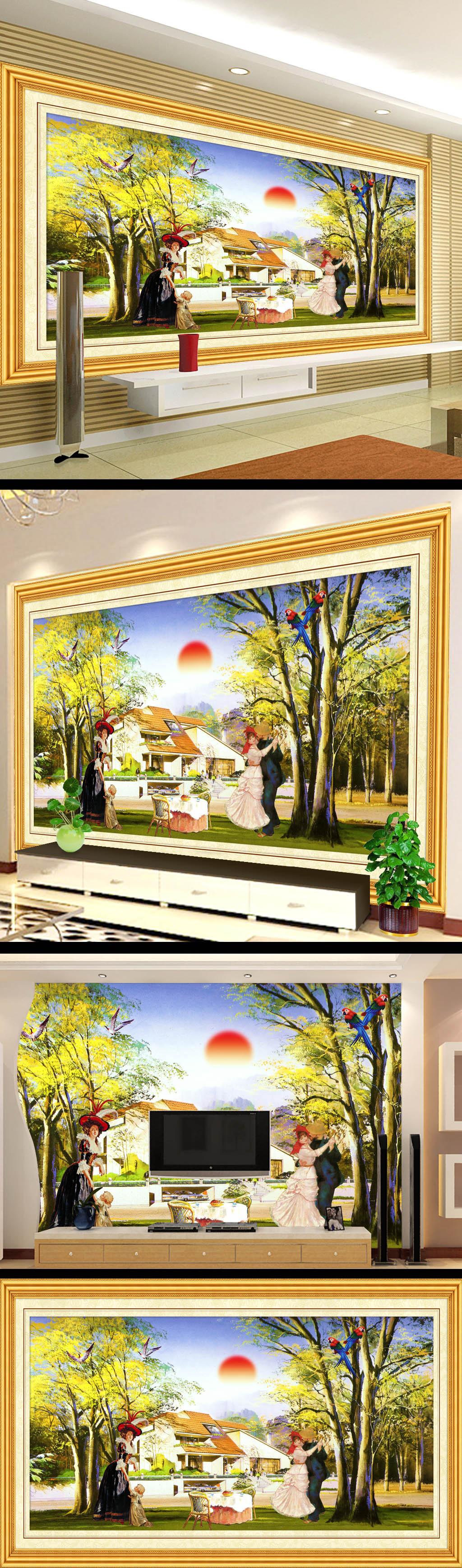 别墅风景画电视背景墙设计图片下载 山水画电视墙设计 风景油画电视