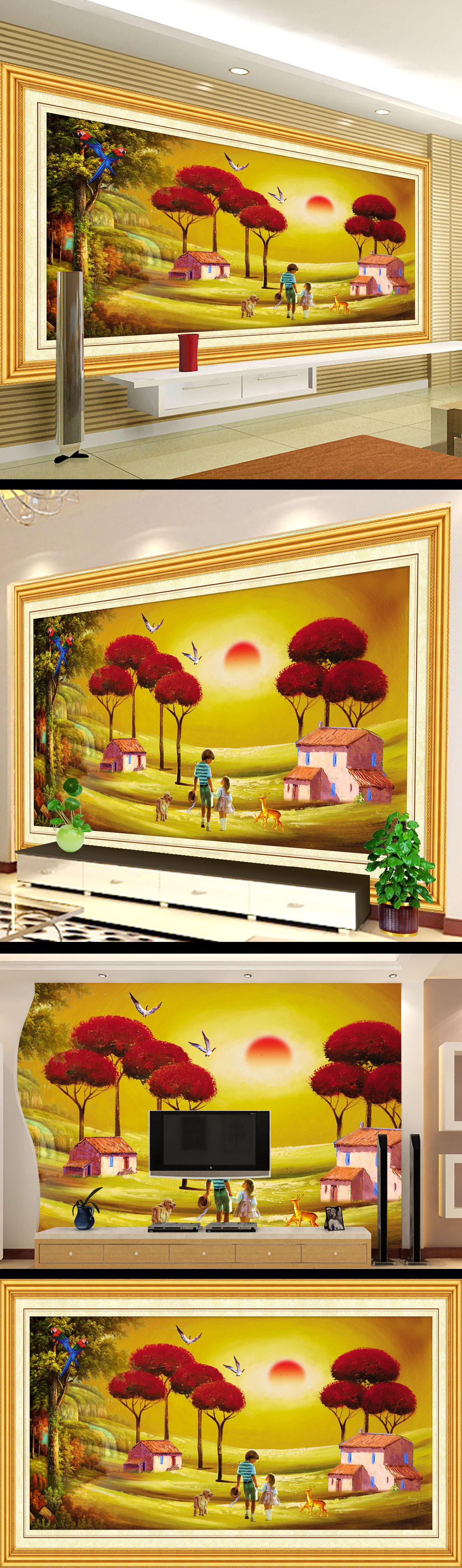儿童卡通风景油画电视背景墙