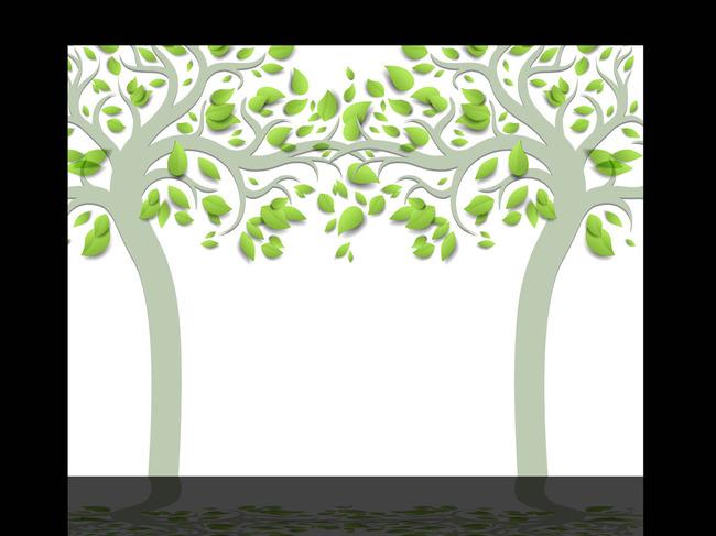 手绘3d立体大树电视背景墙