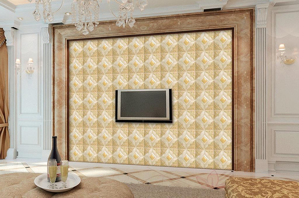 欧式浮雕立体花纹电视背景墙