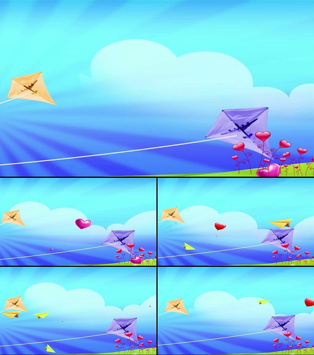 风筝纸飞机动态视频素材