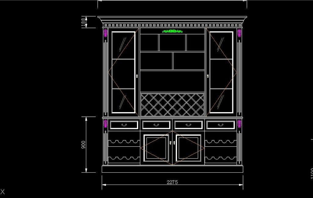 cad图库 室内设计cad图库 家居用品cad图纸 > cad实木酒柜设计图