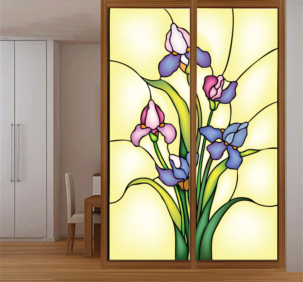 欧美彩色玻璃玄关隔断兰花矢量图