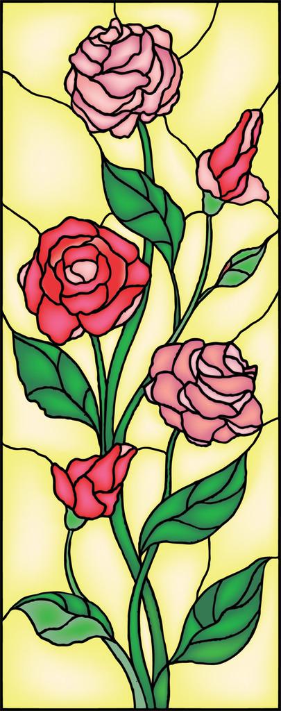 背景墙|装饰画 玄关 山水花鸟玄关图 > 欧美彩色艺术玻璃玫瑰花矢量图