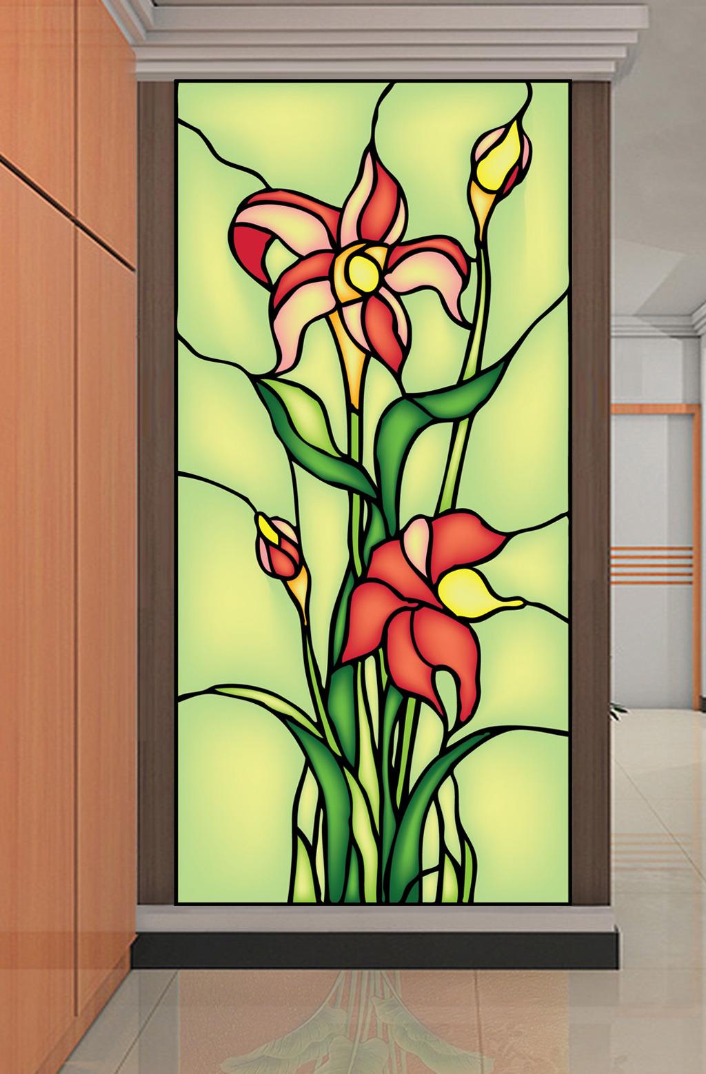 欧美彩色玻璃玄关隔断百合抽象矢量图