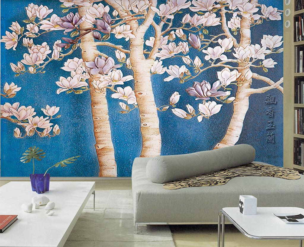 沙发背景墙 飘香玉兰 精美 时尚 壁画 墙画 瓷砖背景墙 酒店壁画 手绘