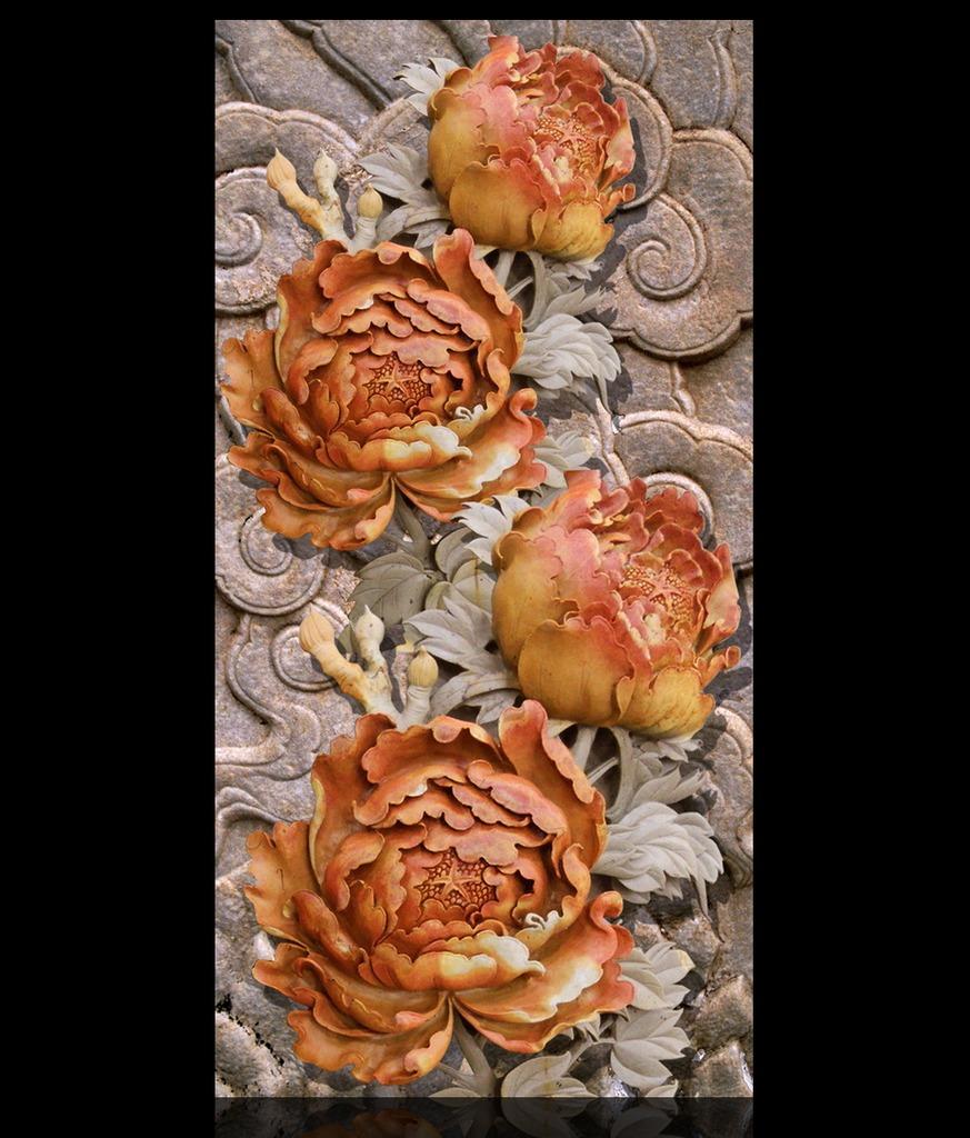 高档大气木雕立体牡丹玄关背景墙装饰画