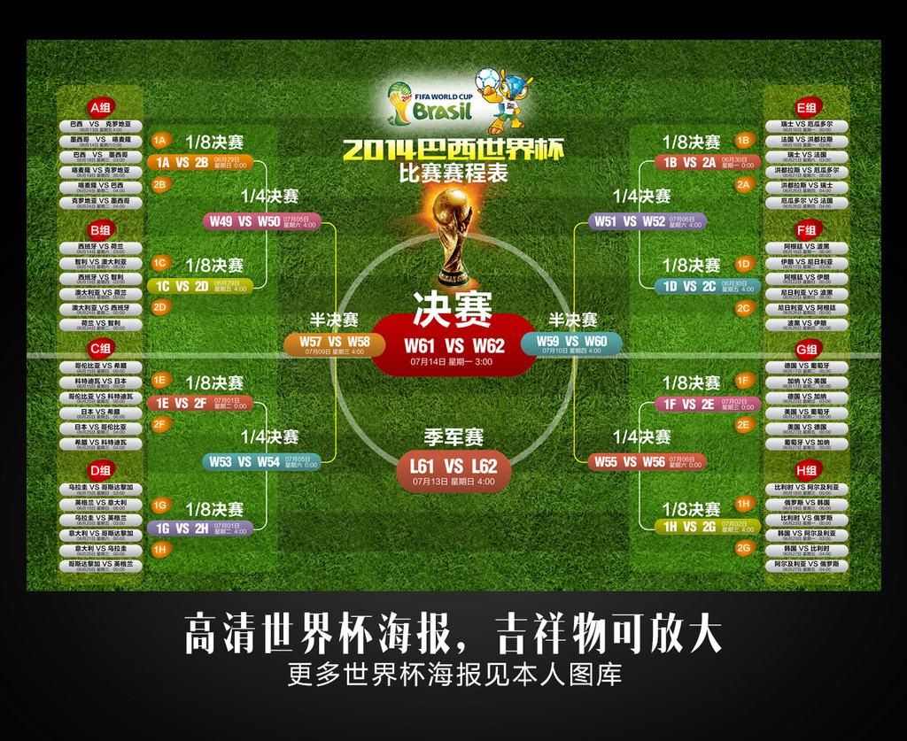 2014巴西世界杯赛程表模板下载