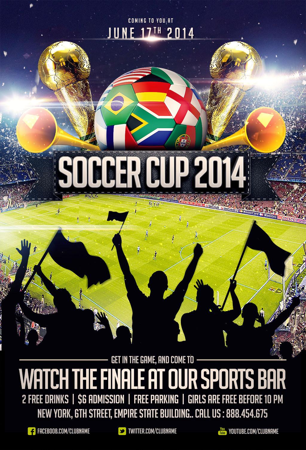 2014巴西世界杯足球比赛宣传海报