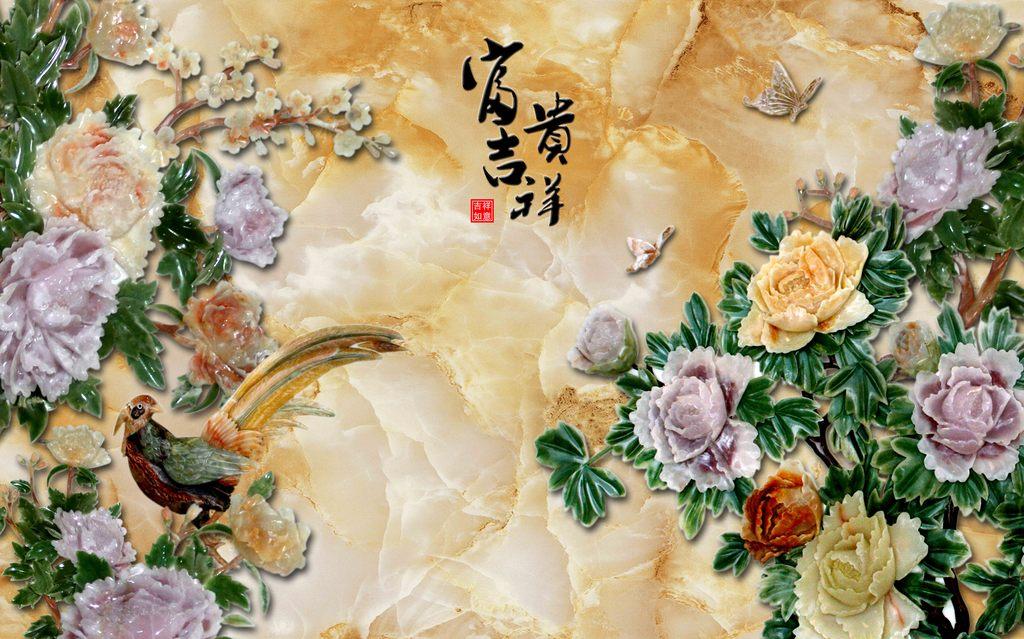 背景墙 电视/牡丹富贵吉祥玉石浮雕电视背景墙模板下载