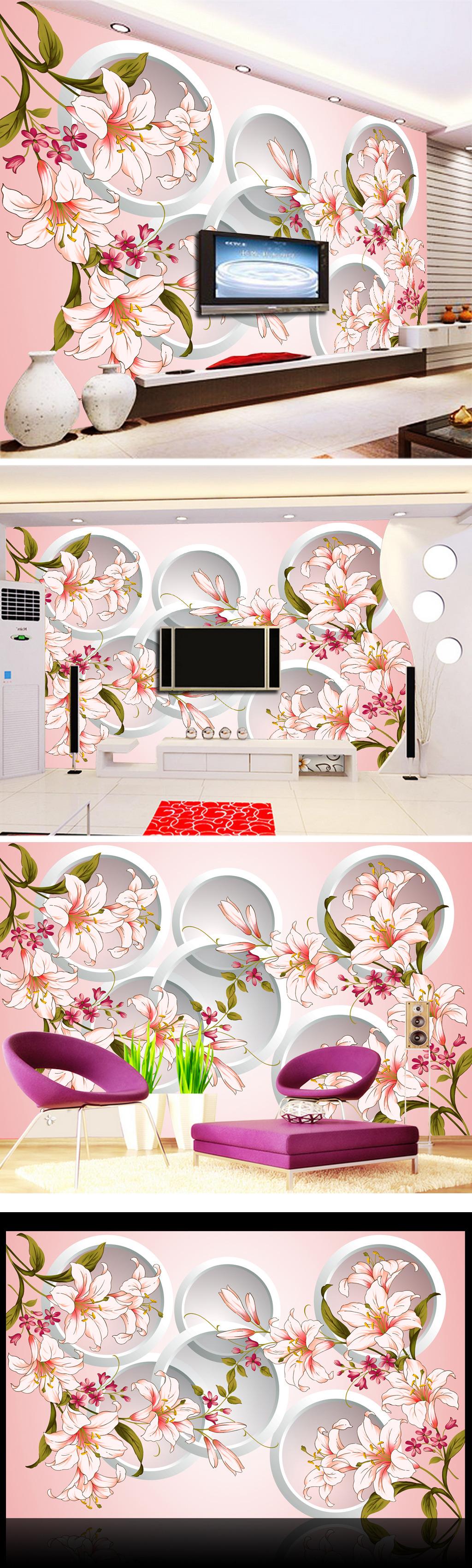 唯美 背景墙/[版权图片]唯美浪漫3D立体百合花背景墙