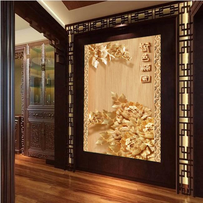 高档木雕牡丹玄关过道背景墙装饰画