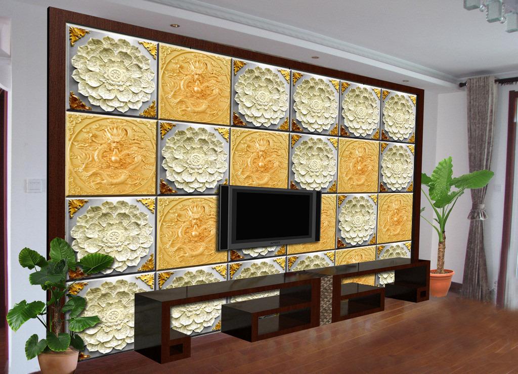 欧式中式浮雕立体青铜电视背景墙