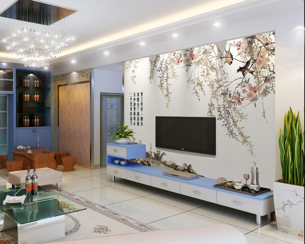 江南春中式风格电视背景墙装饰画图片