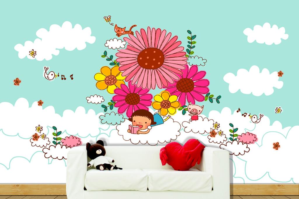 白云花女孩读书可爱儿童背景墙