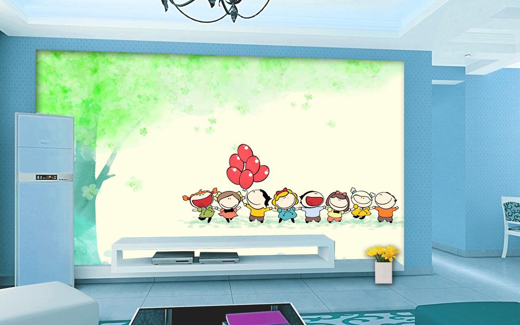 儿童 背景墙/春天大树儿童们春游儿童房间背景墙
