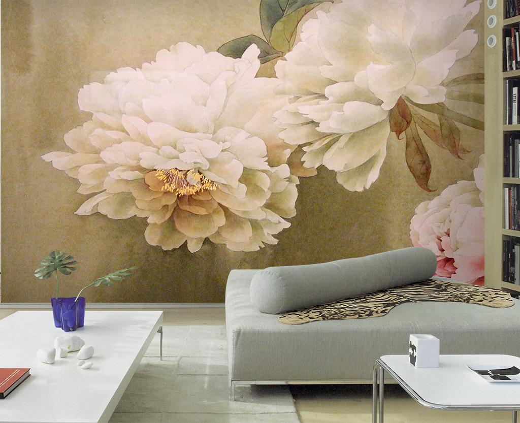 手绘电视背景墙 > 唯美淡雅工笔画牡丹花卉客厅电视